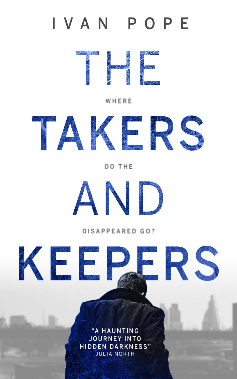 the takers and keepers cover with man walking towards a city skyline