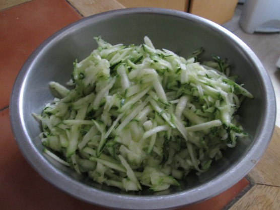 Grated zucchini on deck