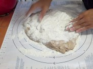 Sprinkle the remaining flour, and begin to knead!