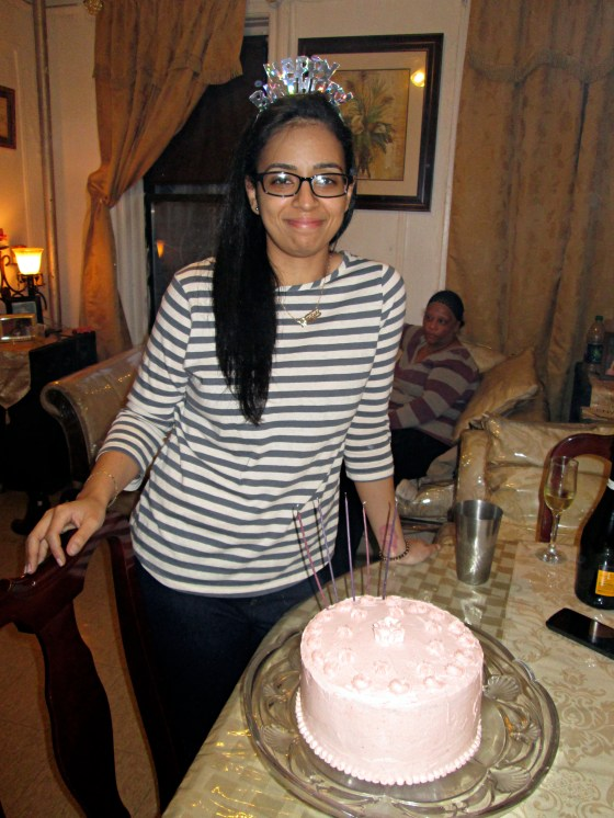 My lovely (and old) sister with her cake. Cameo from my mom in the back