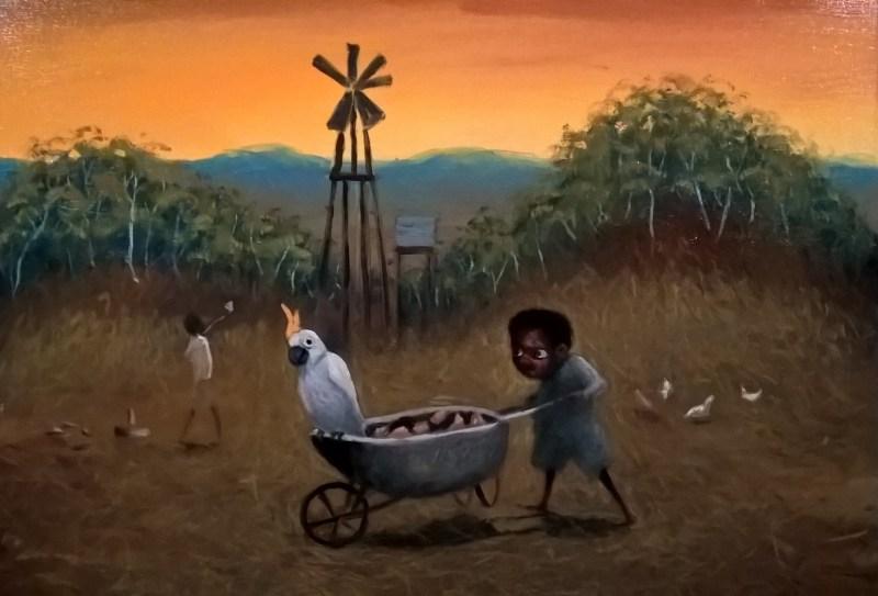Dipinto aborigeno di Jacob Stengl: bambino che trasporta carriola con cacatua