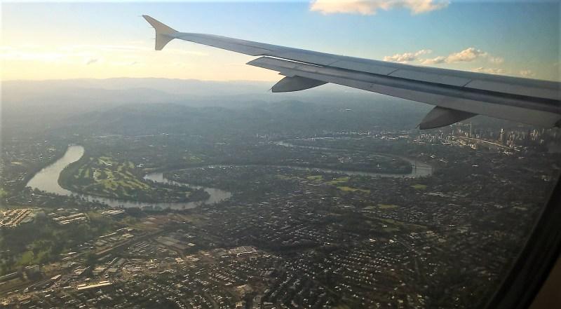 Brisbane vista dall'aereo, panorama dall'alto