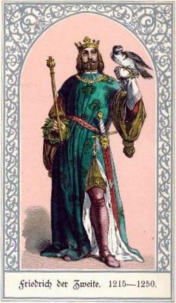 Federico II con corona scettro e falcone