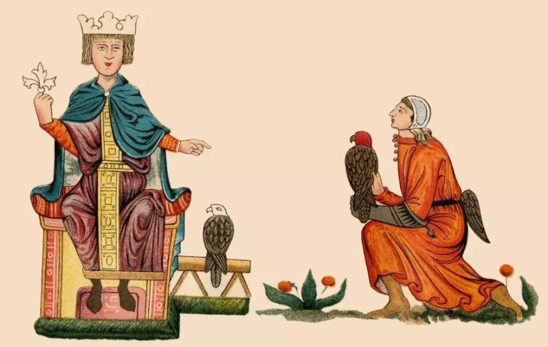 Federico II sul trono con falconi
