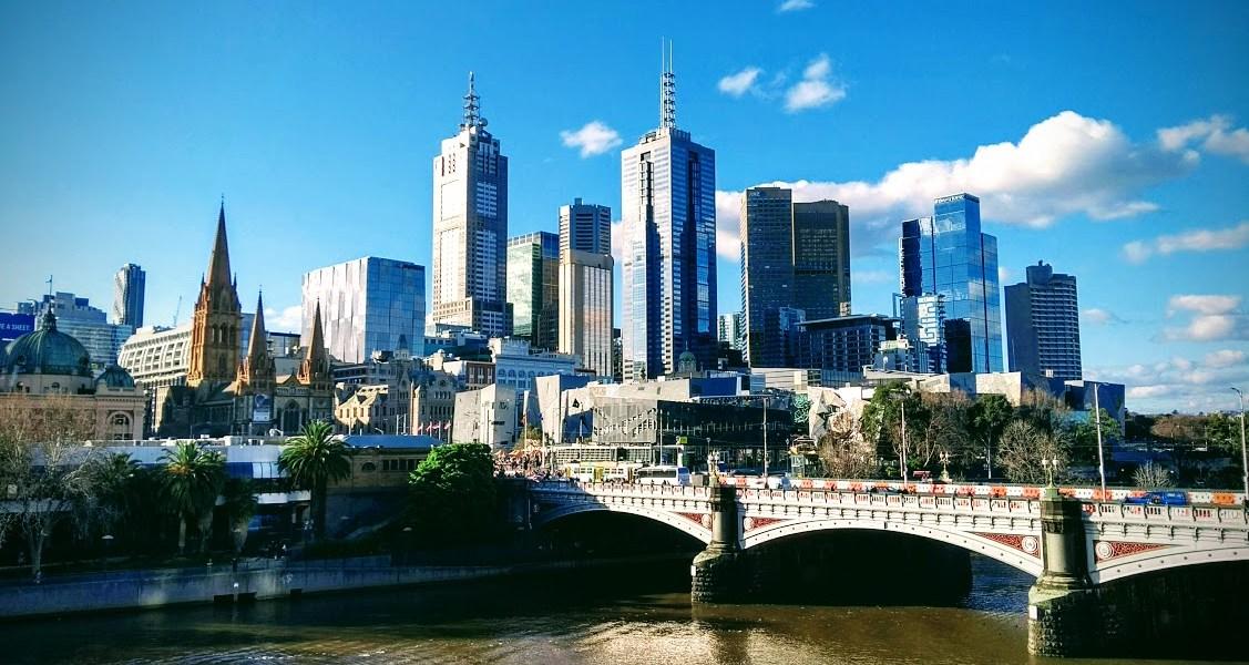 melbourne panorama vista fiume e grattacieli