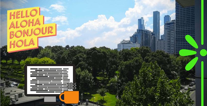 melbourne CBD vista su parco e grattacieli