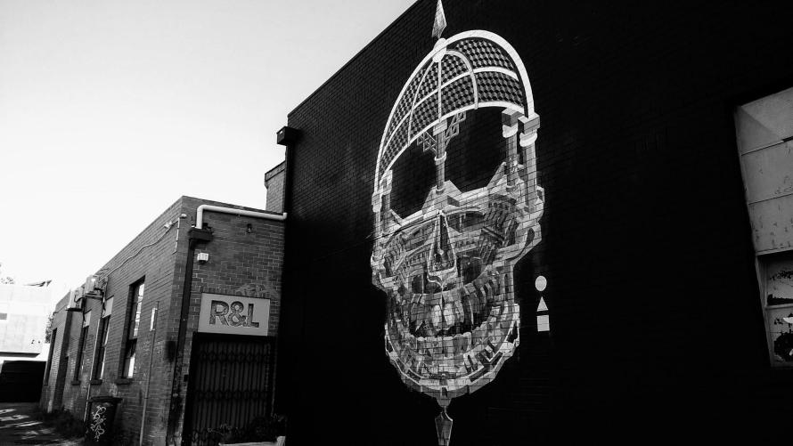 street art teschio morte