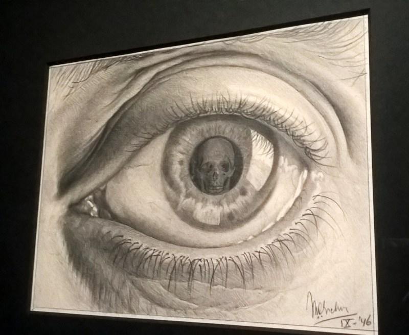 escher studio con teschio dentro alla pupilla dell'occhio