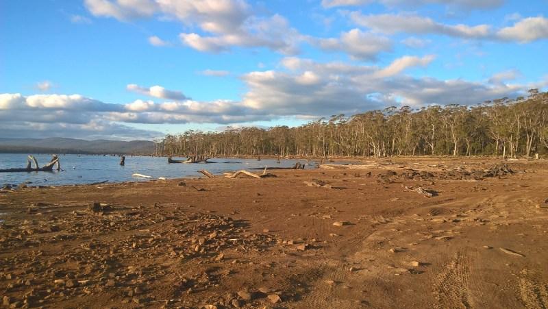 Panorama in Tasmania: terra rossa e alberi in riva al lago