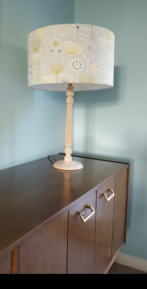 A gorgeous 35cm table lampshade in grey and mustard Scandi design fabric (on my adored mid century Nathan sideboard!)