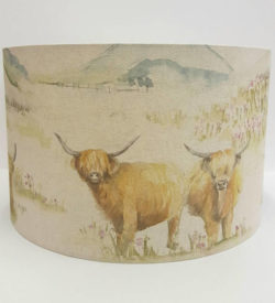 40cm Drum lampshade in Voyage Highland Cattle fabric