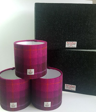 Charcoal Harris Tweed 40cm x 20cm Rectangular Lampshade and 3 15cm D Drum Shades