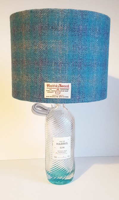 Gin Bottle Lamp with Turquoise Lampshade