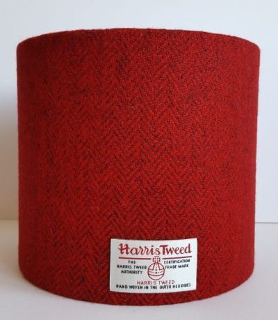 Red and Black Harris Tweed Lampshade