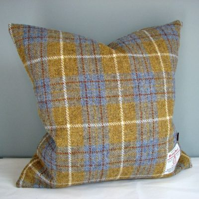 Mustard and Blue Check Harris Tweed Cushion