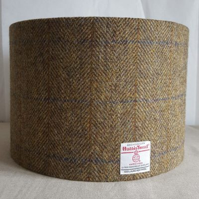30cm Drum Lampshade Herringbone Green Harris Tweed