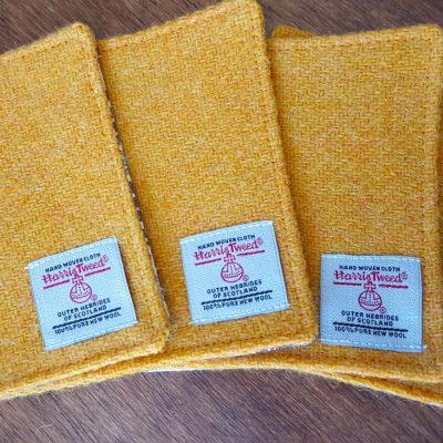 Yellow Harris Tweed Coaster