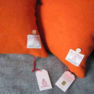 Mid Burnt Orange Harris Tweed Cushions