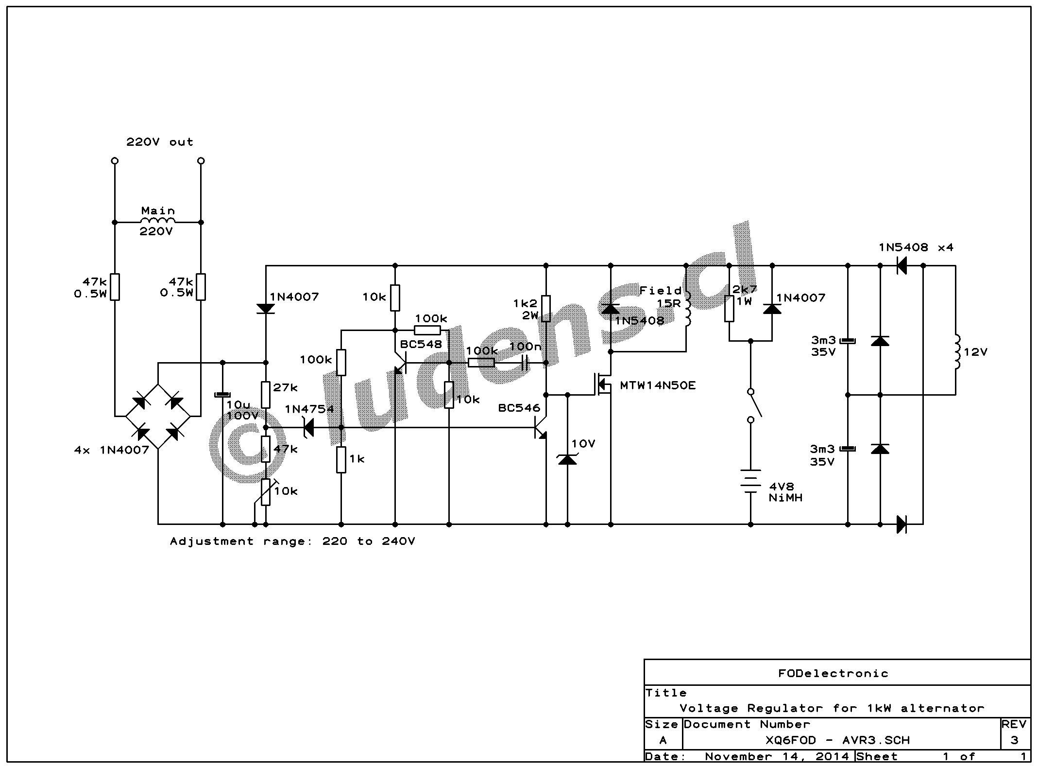 Wiring Diagram Synchronous Generator