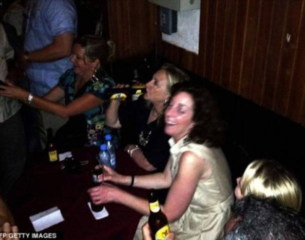 Hillary Clinton boozing in Columbia