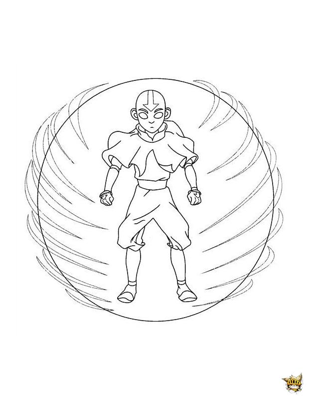 Aang boule d'air est un coloriage du dernier maitre de l'air