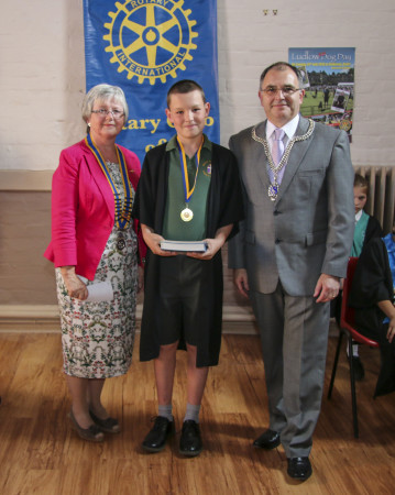 Fiona Jacklin - Rotary President, George Barker - Bishop Hooper School and the Mayor of Ludlow