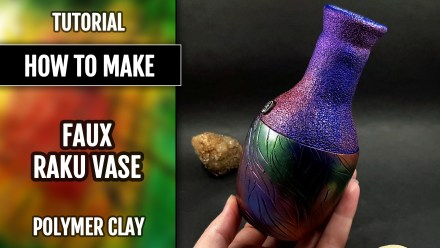 Paid Tutorial: Raku Style Vase totally from polymer clay