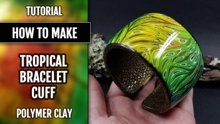 Tropical Polymer clay Bracelet cuff in one baking with Magnetics montage