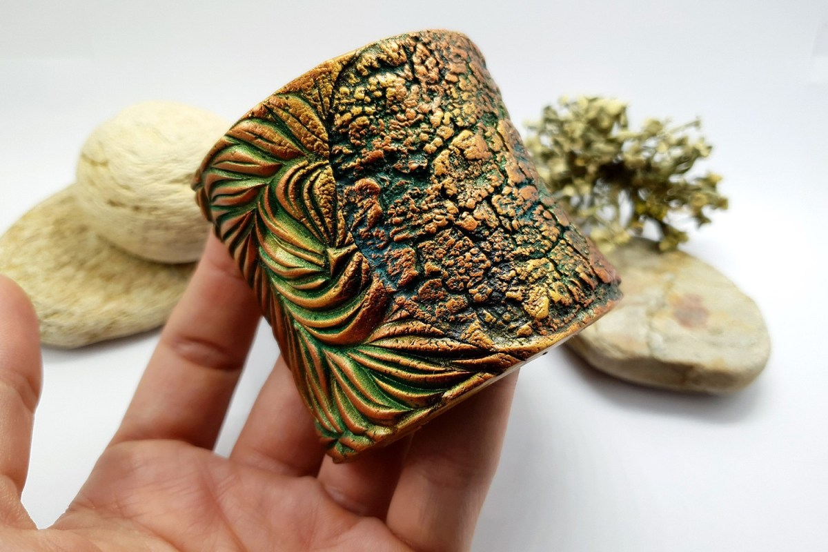 """Bracelet Design with """"Cracked Tree Bark"""" and """"Fern Leafs"""" textures 5"""