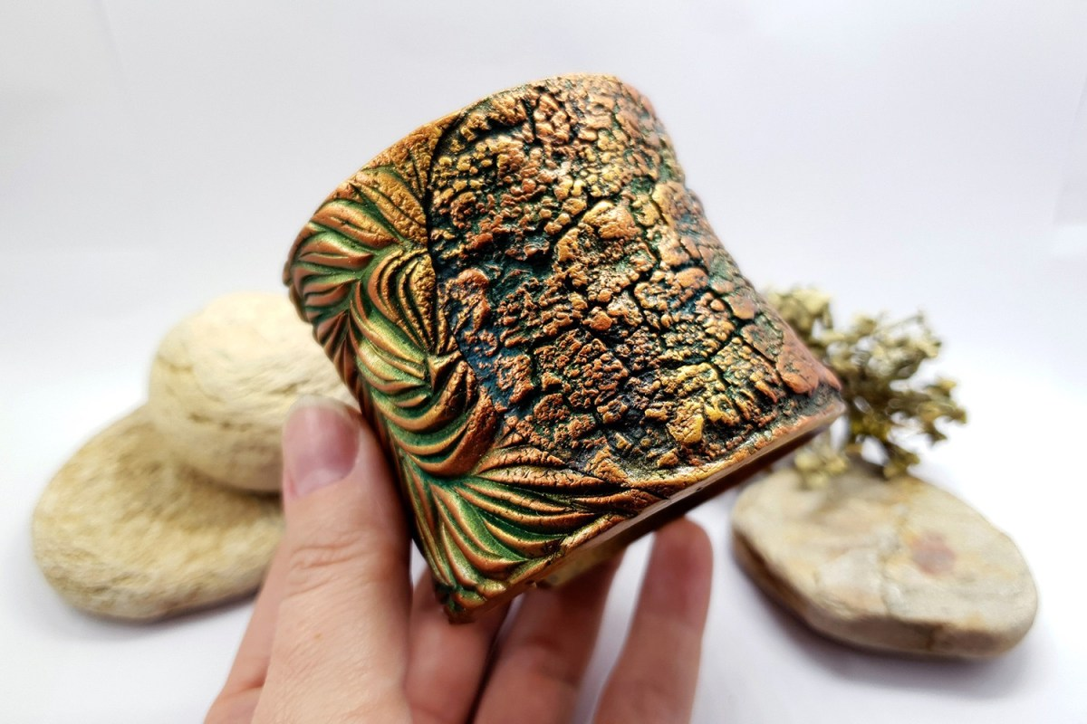 """Bracelet Design with """"Cracked Tree Bark"""" and """"Fern Leafs"""" textures 7"""