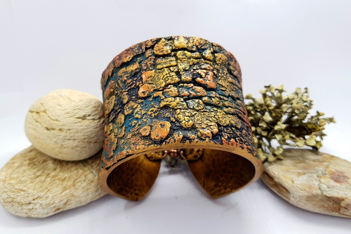 """Bracelet Design with """"Cracked Tree Bark"""" and """"Fern Leafs"""" textures 9"""