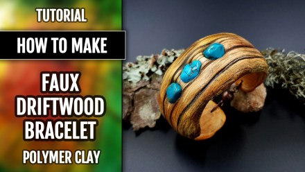 Paid Tutorial: Faux driftwood bracelet cuff with turquoise stone