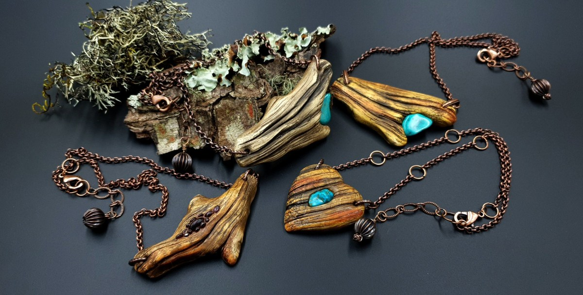 Paid Tutorial: Faux Driftwood Pendants with Turquoise stone 9