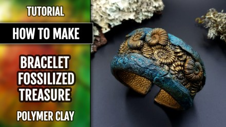 How to Make: Unique Bracelet Cuff with Faux Fossil Ammonites in Rock