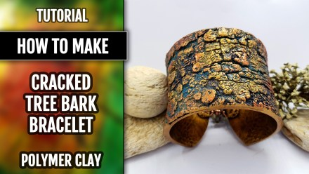 "($15+) Video Tutorial. Polymer clay Bracelet Cuff – ""Cracked Tree Bark"""