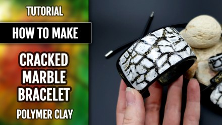 (10+) Video Tutorial: How to make Polymer Clay Bracelet Cuff with Cracked Marble effect
