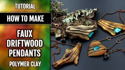 (35+) Video Tutorial: How to make Faux Driftwood Pendants with Turquoise stone from Polymer clay!