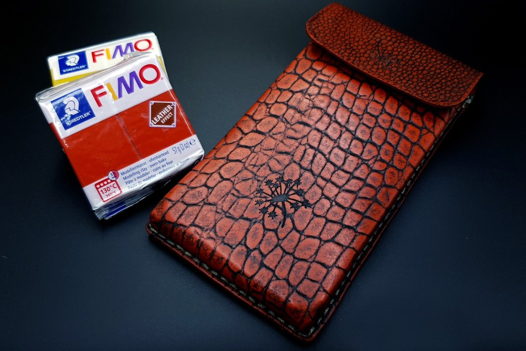 My 1st Faux Leather Phone Case from amazing polymer clay Fimo Leather Effect 3