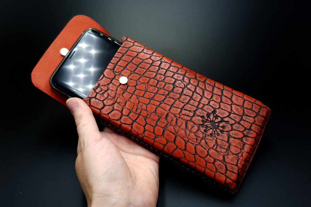 My 1st Faux Leather Phone Case from amazing polymer clay Fimo Leather Effect 6