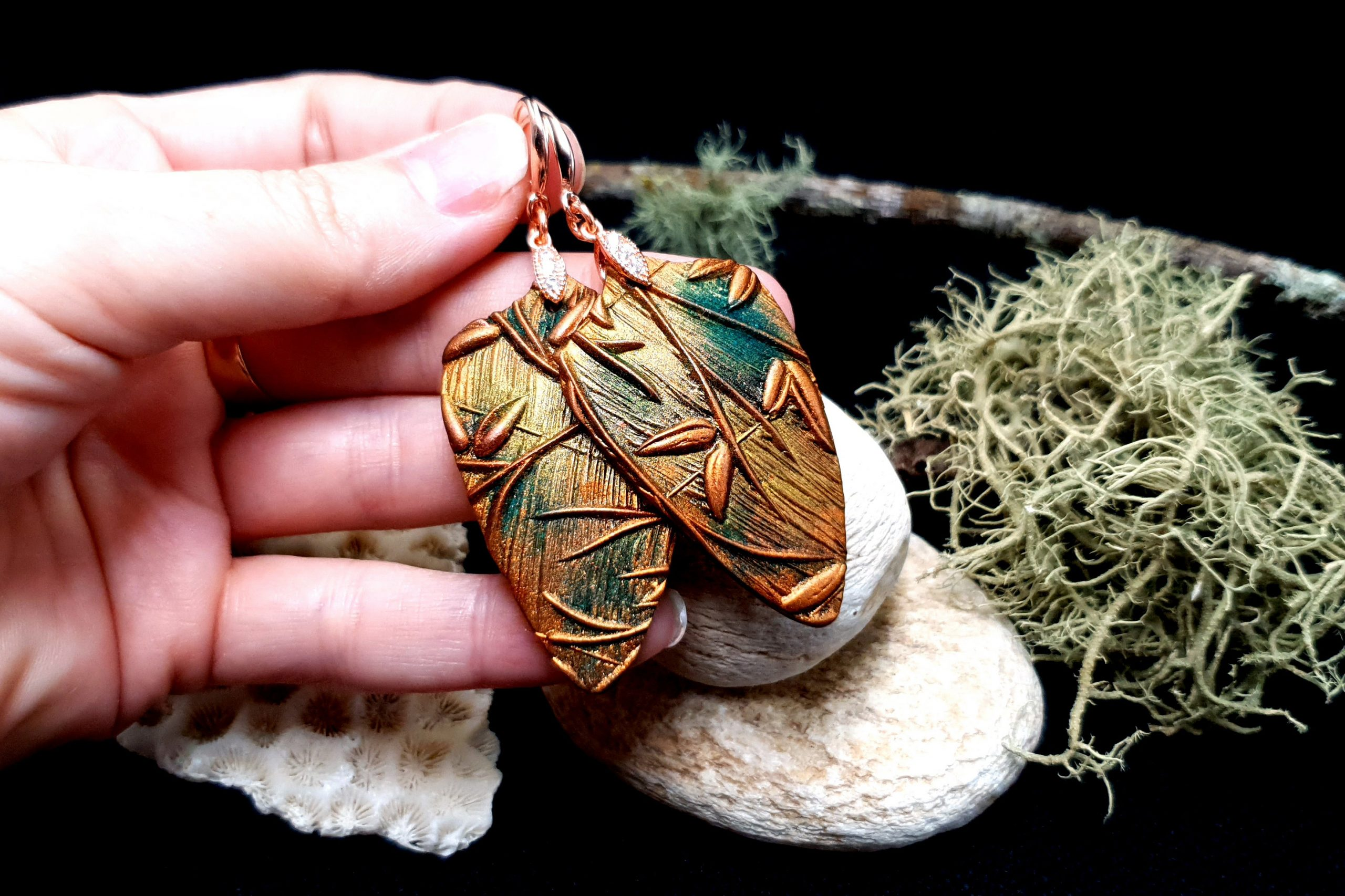 "Free video tutorial: How to make beautiful copper polymer clay earrings ""Spring Leafs"" 3"