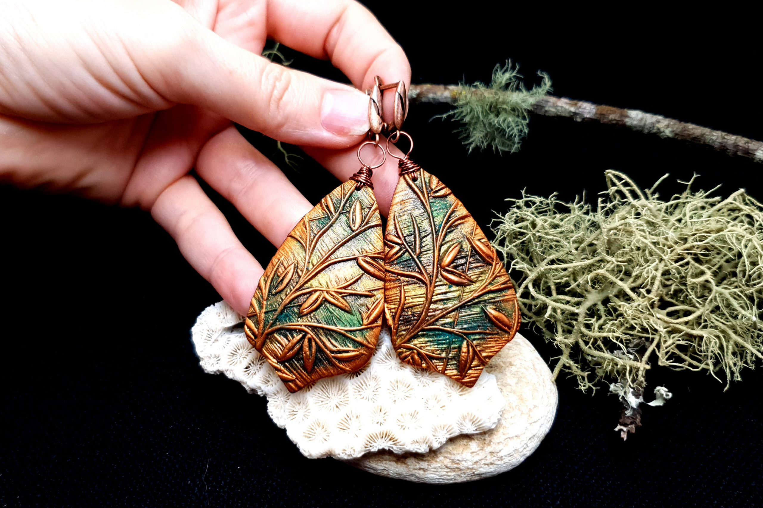 "Free video tutorial: How to make beautiful copper polymer clay earrings ""Spring Leafs"" 7"