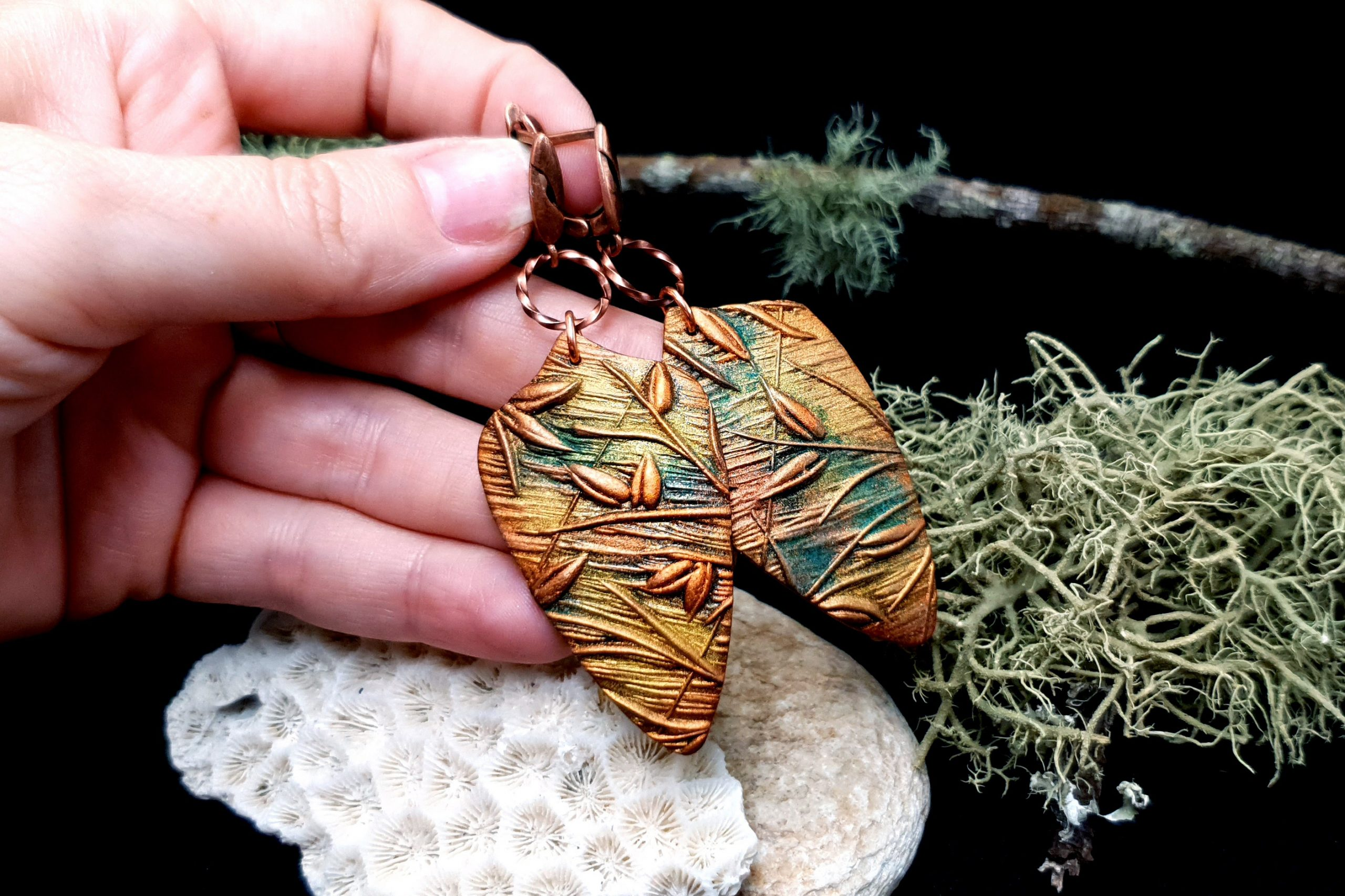 "Free video tutorial: How to make beautiful copper polymer clay earrings ""Spring Leafs"" 5"