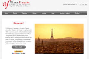 Screenshot of the Alliance Francaise Hampton Roads Home page