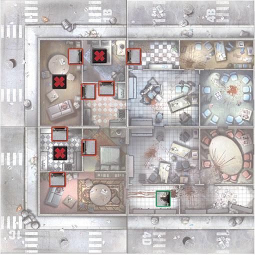 Mapa Numero 02 del escenario de zombicide salva a la animadora