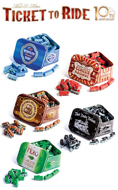 latas de trenes de la edición 10º aniversario de aventureros al tren