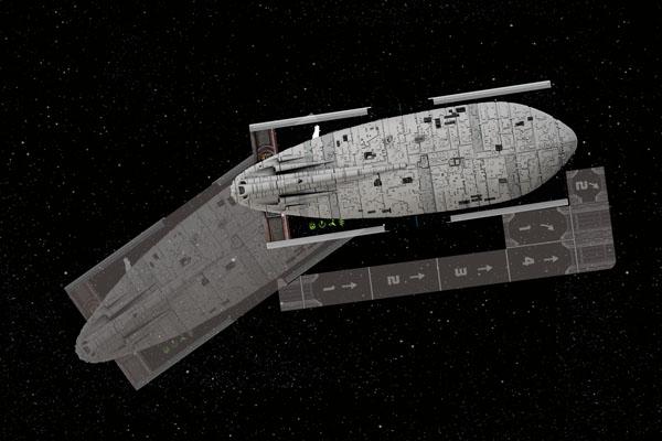 Plantilla de movimiento de una nave grande en X-Wing