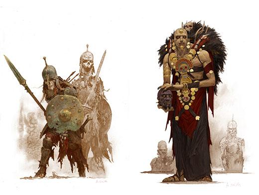 Ilustraciones de guerreros esqueletos y nigromante del juego de Conan