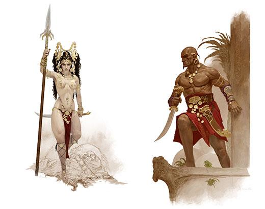 Ilustraciones de Belit y Shevatas para el juego de Conan