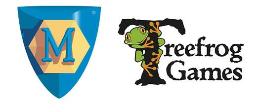 Logotipos de Mayfair Games y Treefrog Games, la editporial de Martin Wallace