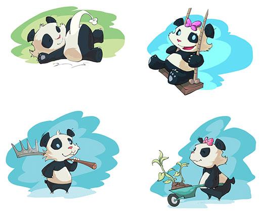 Ilustraciones de los nuevos pandas de Takenoko Chibis